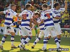 QPR celebrate Tommy Smith's late goal