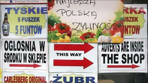 Polish signs in a shop window in London