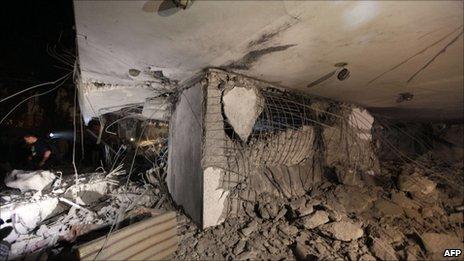 Damage to Muammar Gaddafi house in Tripoli, Libya, 30 April.