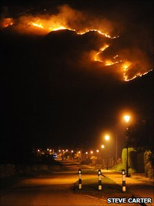 Liathach fire above Torridon village - picture by Steve Carter