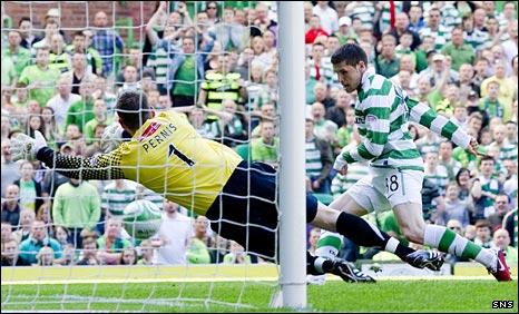 Gary Hooper opens the scoring for Celtic