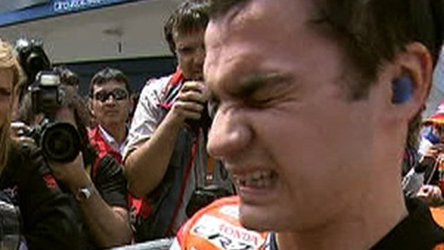 Dani Pedrosa after winning in Portugal