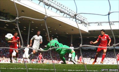 Luis Suarez (right) scores for Liverpool