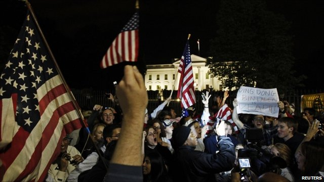 Crowds of young people outside the White House