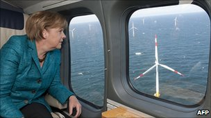 Chancellor Merkel on flight over Baltic 1 wind farm, 2 May 11