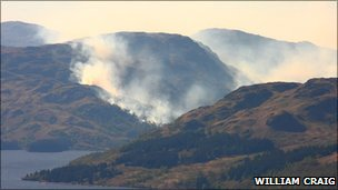 Heath fire at Loch Katrine seen from summit of Ben A'an (Pic by William Craig)