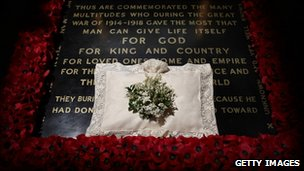 The wedding bouquet of Catherine, Duchess of Cambridge, lies on the grave of the unknown warrior in Westminster Abbey