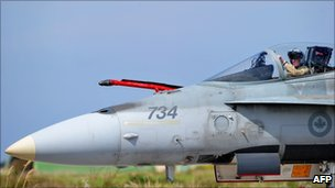 Canadian Armed Forces CF18 at Trapani-Birgi airbase in Sicily, Italy - 25 March 2011