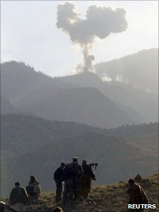 Smoke rises from the Tora Bora mountains after a US air strike (15 December 2001)
