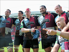 Harlequins celebrate victory away to Munster