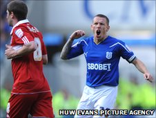 Captain Craig Bellamy shows his frustration as another Cardiff move comes to nothing