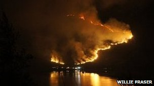 Wild fire at Kintail seen from Loch Duich (Pic by Willie Fraser, NTS)