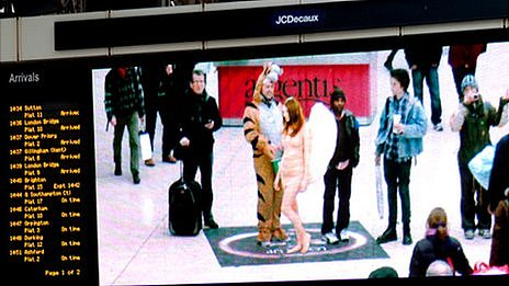 A photo of Lynx's 'Angel Ambush' stunt in London's Victoria Station