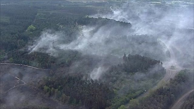 Aerial footage of the Swinley Forest fires
