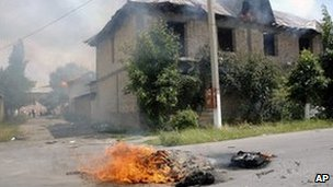 Houses burning in Jalalabad, Kyrgyzstan - 13 June 2010