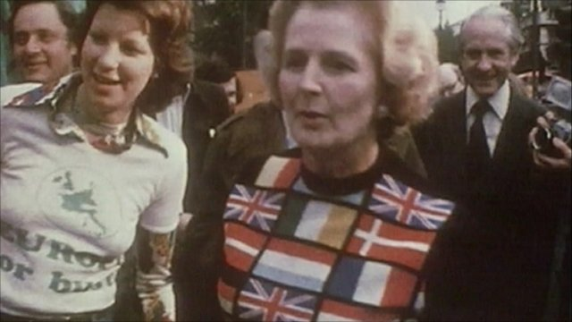 Margaret Thatcher campaigning in 1975 referendum