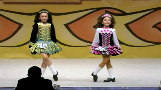 Irish dancers on stage