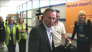 Paul Lambert, Norwich City FC manager, at Norwich Airport