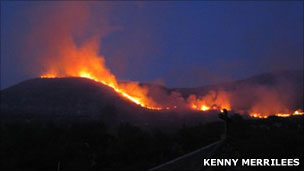 Wildfire at Tarbet, Loch Nevis. Photo: Kenny Merrilees