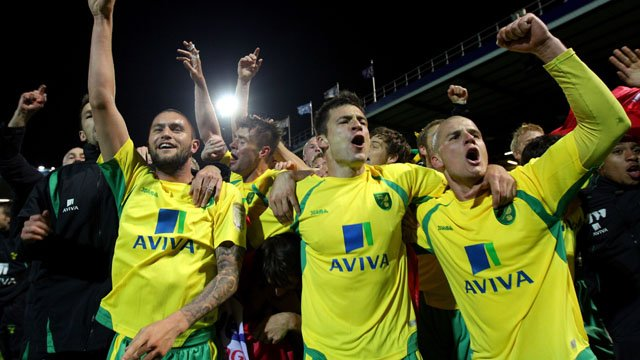 Norwich celebrate promotion to the Premier League