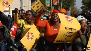 South African mine workers protest in Johannesburg