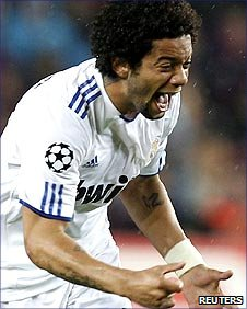 Marcelo celebrates scoring for Real