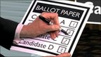A mock ballot paper
