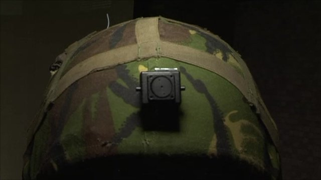 A camera mounted in a helmet