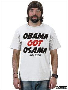 A man wearing a t-shirt with the slogan 'Obama got Osama, May 1, 2011'
