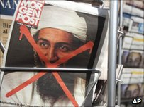 Front page of a German newspaper with a photograph of Osama bin Laden on 3 May, 2011