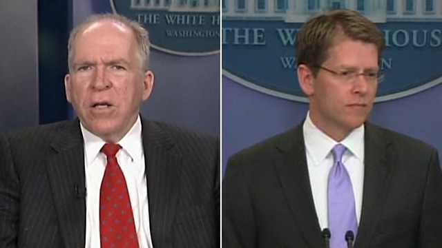 John Brennan (left) and Jay Carney (right)