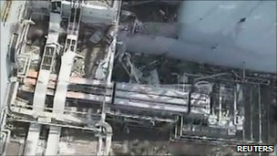 Aerial view of No.1 reactor building at Fukushima (27 April 2011)