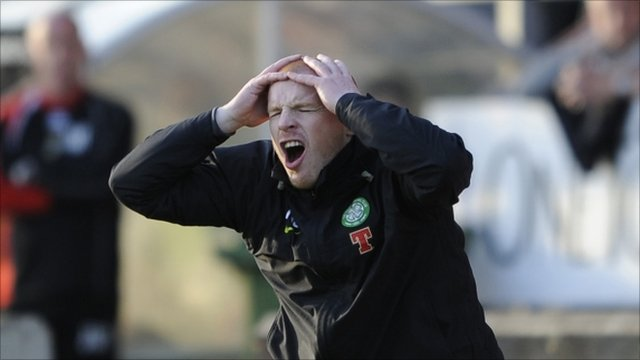 Celtic manager Neil Lennon reacts after his side are not awarded a penalty against Inverness