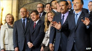 US Secretary of State Hillary Clinton (far left) and the foreign ministers and representatives of countries and organisations in the Libya Contact Group meeting in Rome - 5 May 2011
