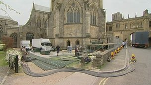 Film units set up at Wells cathedral