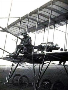 Giulio Gavotti on a Farman biplane in 1910. He flew his first air raid with an Etrich Taube aircraft in 1911 (photo courtesy of Paolo de Vecchi)