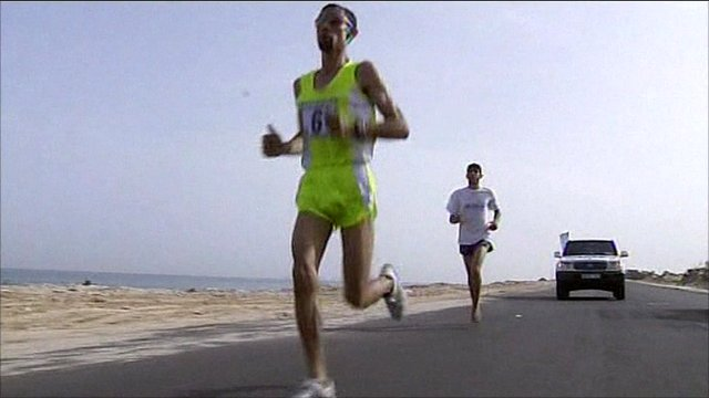 Marathon runner in Gaza