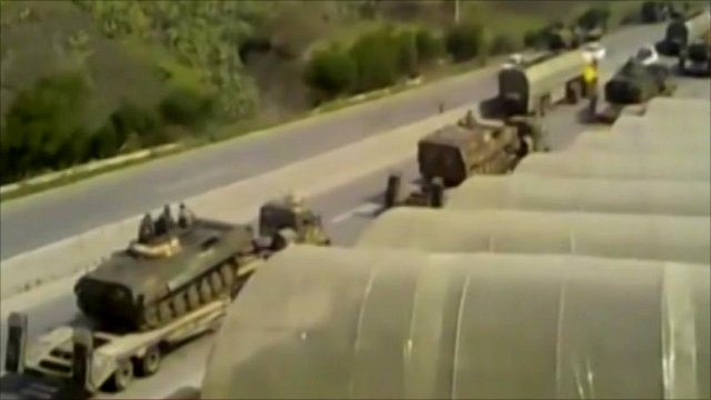 Military vehicles on a road