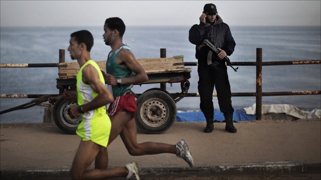 Nader el Masri winning the Gaza marathon