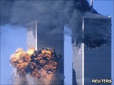 Twin Towers on September 11, 2011