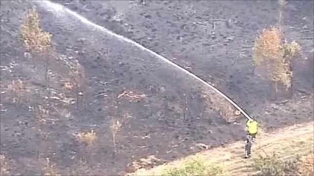 Aerial shot of firefighter with hose at Swinley Forest