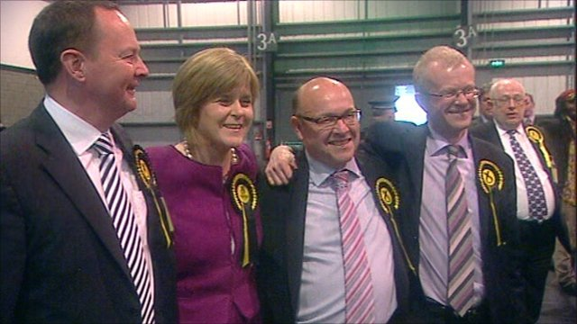 Four of the five Glasgow SNP MSPs (L to R) Bill Kidd, Nicola Sturgeon, James Dornan, John Mason