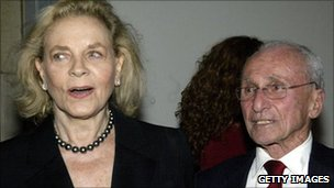 Arthur Laurents with Lauren Bacall in 2003