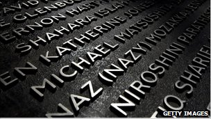 Plaque with the names of the victims of the 7/7 attacks