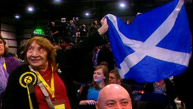 SNP supporters celebrate