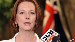 Julia Gillard, pictured on 20 April 2011