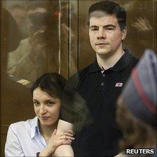 Defendants Nikita Tikhonov (right) and Yevgenia Khasis in court, 6 May 11