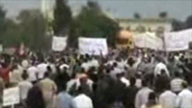 Amateur video has captured the moment what was a peaceful protest in the Syrian city of Talbisah was broken up forcefully by soldiers.