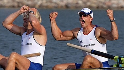"Andrew Hodge and Pete Reed react after winning gold in the men""s coxless fours final"