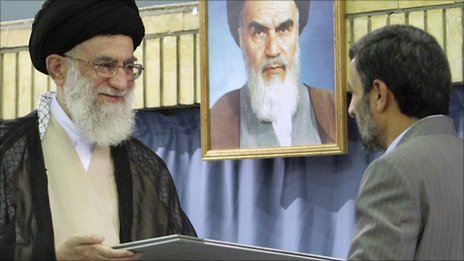 Ayatollah Ali Khamenei presenting the presidential decree to Mahmoud Ahmadinejad in August 2009 